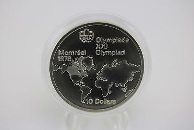 1976 Montreal Canadian Olympic Games .925 Silver Proof $10 Coin World Map