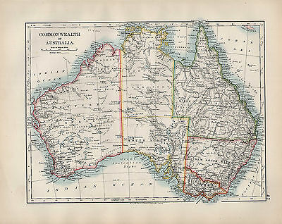 1904 Antique Map ~ Commonwealth Of Australia Queensland Victoria New South Wales