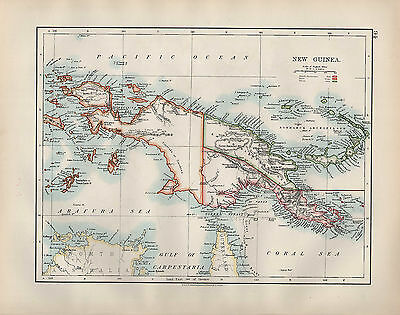 1904 Antique Map ~ New Guinea ~ British Possessions Dutch & German Bismarck