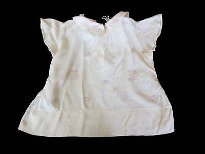 Antique silk baby dress embroidered initial L pink cream 1920's christening