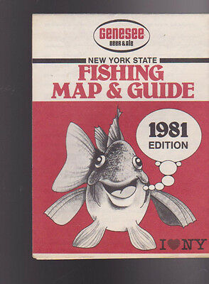 1985 new york state fishing map guide genesee beer cad for New york state fish