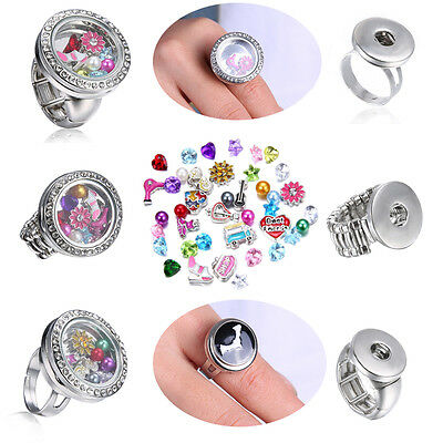 Men Women Jewelry Snap-It Punk Button Floating Charms Locket For Snap Ring gift
