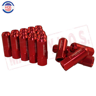 Jdmspeed 20Pc Set 14X1.5Mm Extended Forged Aluminum Tuner Racing Lug Nut Red
