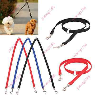 2 Way Dual Double Leash Necklace Dog Traction Rope Coupler Leash Walking Cool Yu