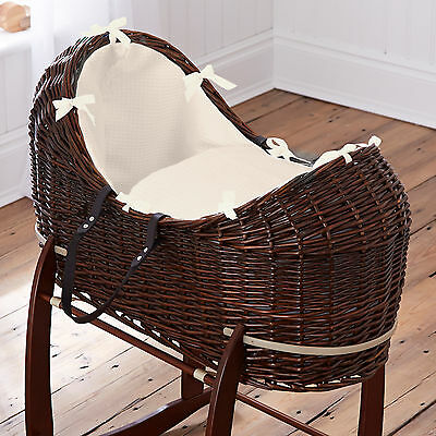 New Clair De Lune Cream Waffle Dark Wicker Baby Moses Basket / Noah Pod