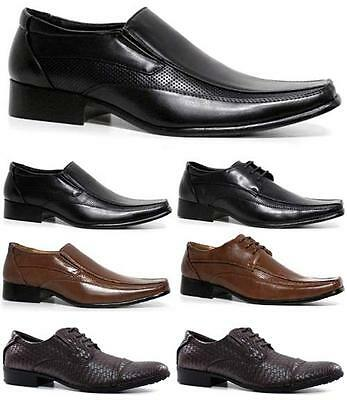 Mens Faux Leather Shoes Smart Wedding Italian Formal Office Dress Boys Shoe Size