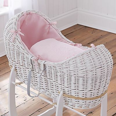 New Clair De Lune Pink Waffle White Wicker Baby Moses Basket / Noah Pod