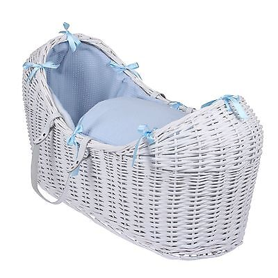 New Clair De Lune Blue Waffle White Wicker Baby Moses Basket / Noah Pod