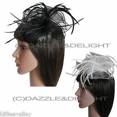 Feather Fascinator Flower Hair Piece Wedding Races Feather Hair Piece Comb