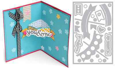 Sizzix Thin Framelits Die Set ~Card With Banners 3-D Drop-Ins