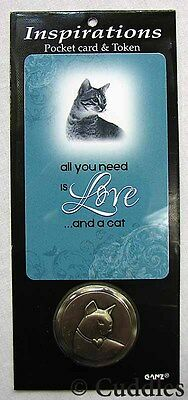 Cat Insirations Pocket Card Token All You Need Is Love Ganz Metal Religious New