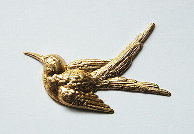 Vintage Raw Brass Bird In Flight Sparrow Metal Stamping Art Craft Collage