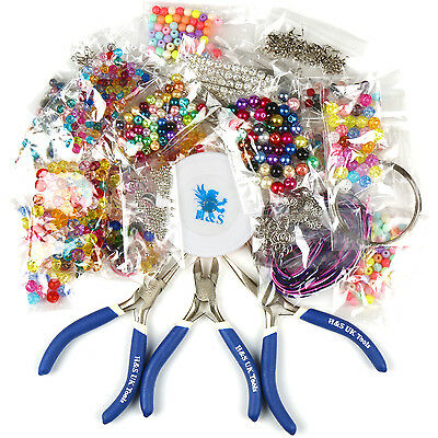 Large Jewellery Making Kit Starter Tool Pliers Set Silver Beads Findings Threads
