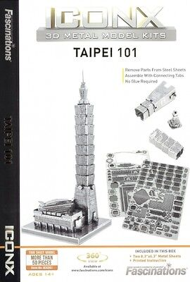 Fascinations Iconx TAIPEI 101 3D Puzzle Laser Cut Metal Earth Steel Model Kit