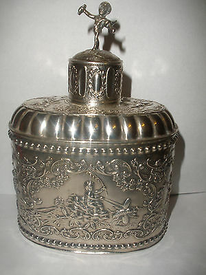 Rare antique Dutch sterling silver tea caddy flask with cherubs putti angel