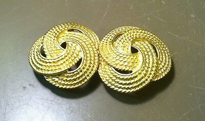 Vintage Paquette Gold Toned Large Rope Like Ribbon Flower Belt Buckle Rare