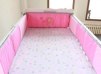 Baby Crib Cot Bassinette Bumper Padded & Quilted Full Surround 4pc Pink Elephant