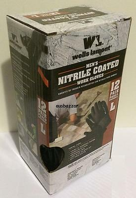 New 12 Pairs Wells Lamont Men's Nitrile Coated Work Gloves Size Large Or Medium