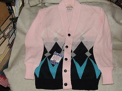 1950s Vintage Girl's Argyle Pink Sweater by Campus Pure Virgin Orlon New w/ Tag