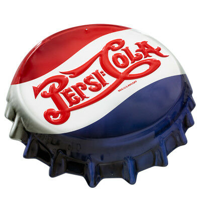 Pepsi Bottle Cap Embossed Cutout Metal Sign Diner Vintage Style Decor 18 x 16