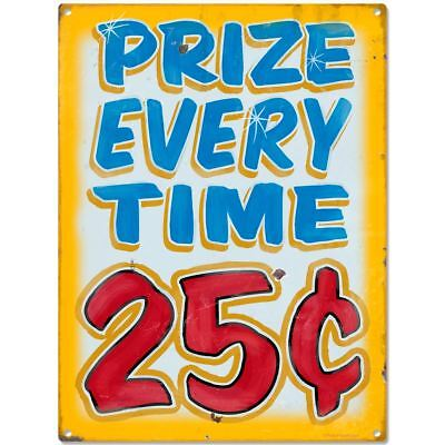 Prize Every Time Carnival Game Metal Sign Vintage Style Game Room