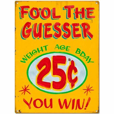 Fool The Guesser Carnival Game Metal Sign Vintage Style Game Room