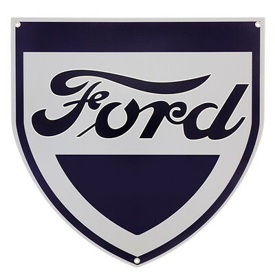 Ford Shield Logo Metal Sign Vintage Style Die Cut Garage Decor 17.75 x 18