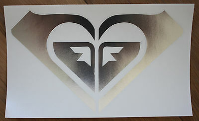 """NEW ROXY SILVER Heart Shaped STICKER -11.5"""" x 7"""" - Free Shipping in USA"""