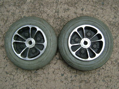 PAIR OF 7 x 1.75 PUNCTURE PROOF MOBILITY SCOOTER TYRES ON REAR WHEELS.