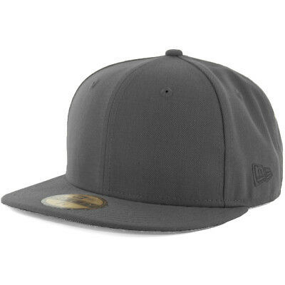 New Era Plain Tonal 59Fifty Fitted Hat (Graphite) Men's Blank Cap