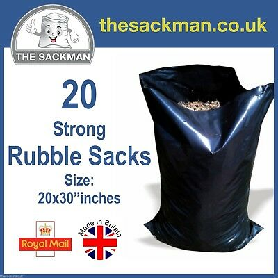 "20 Heavy Duty Rubble Sacks Size: 20x30"" Black, Strong Sacks 400g, Builders Bags"