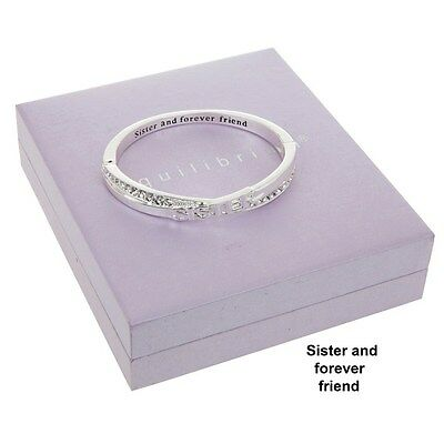 Sister And Forever Friend Silver Plated Bangle Boxed By Equilibrium Bracelet