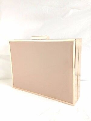 New Pale Beige Nude Faux Patent Leather Evening Day Clutch Bag Prom Wedding Box