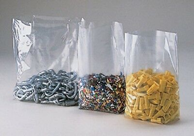 100~ 8x4x18 Clear GUSSETED Open Top Poly Bags 8 x 4 x 18 LDPE 1 Mil