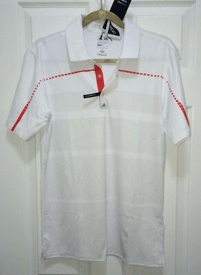 ADIDAS GOLF Coolmax Puremotion Tour Digital White Red Grey Polo Shirt NEW Mens S