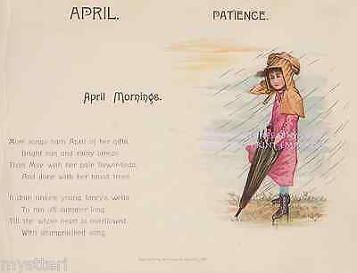 April Showers-Patience-Victorian Girl-Rain-1891 ANTIQUE VINTAGE ART PRINT-Song