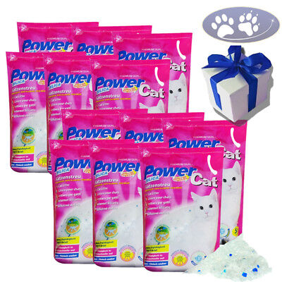 12x5= 60 lit. L Power Cat Magic Silikat Katzenstreu Powercat Streu + Geschenk