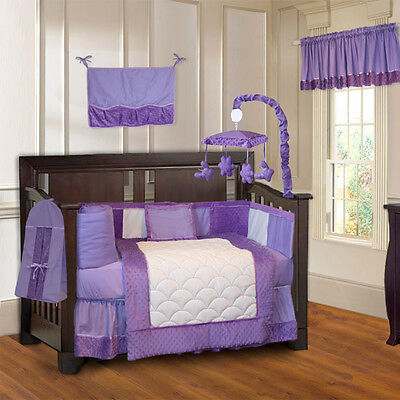 10 Piece Minky Purple Girls Ultra-Soft Baby Crib Bedding set with Musical Mobile