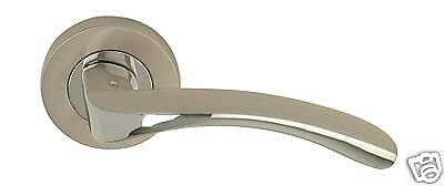 9 Sets Arc Designer Lever on Rose Door Handles - Satin Nickel / Polished Chrome