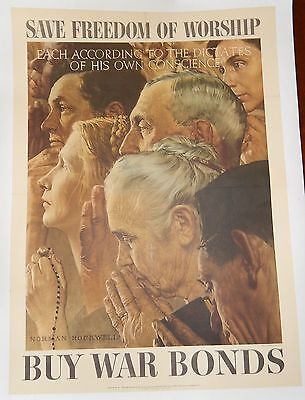 Original WWII Poster Norman Rockwell Freedom of Worship Linen Religion 20*28#2