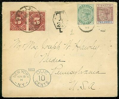 gibraltar 1903 postage due cover to usa with nice markings