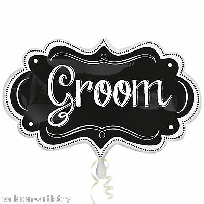 "34"" Wedding GROOM Blackboard Chalkboard Marquee Foil Supershape Balloon"