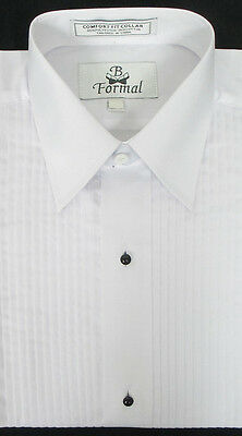 New White Pleated Front Tuxedo Shirt *Choice of Size & Collar(Wing or Laydown)*