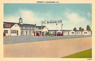 Summerton South Carolina Godwin's Court Restaurant Esso Gas Antique PC (J34409)