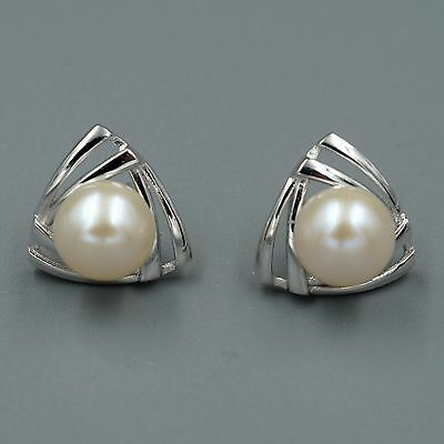 9 mm White Pearl Sterling Silver Triangle Stud Earrings Cultured Freshwater 7387