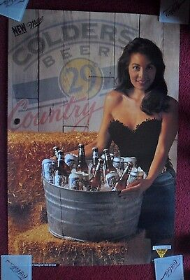Sexy Girl Beer Poster Miller Colders 29 ~ Country Server with Fringe Top