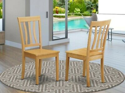 Set of 2 Antique dinette kitchen dining chairs with wood seat in light oak