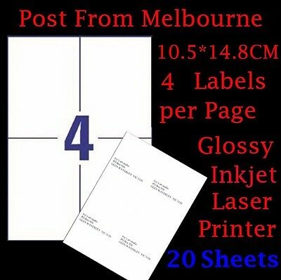 20 X A4 Glossy White 4 Per Page 2x2 Self Adhesive Sticker Mailing Address Labels