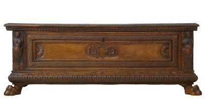 17Th Century Italian Carved Walnut Cassone Coffer