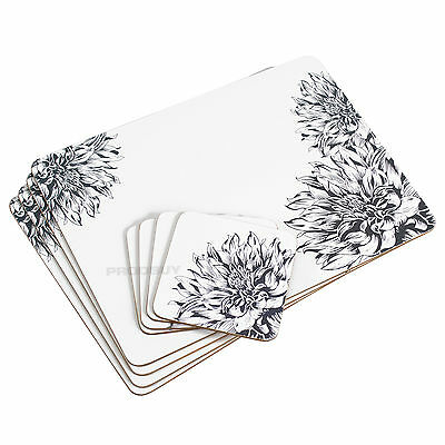 Set of 4 Placemats & Coasters White Floral Botanic Dinner Table Setting Mats
